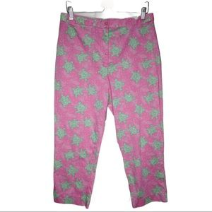 Lilly Pulitzer Cotton Pink Green Turtle Crop Pants